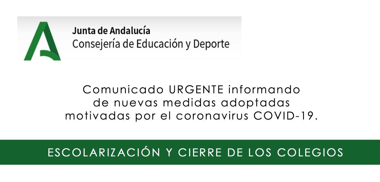 COMUNICADO URGENTE JUNTA DE ANDALUCÍA (14 de marzo)