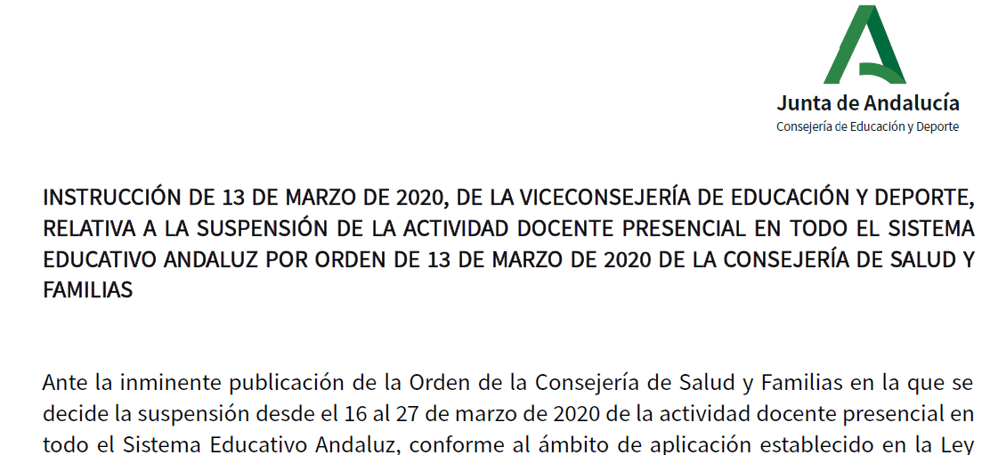 INSTRUCCIONES DE LA JUNTA DE ANDALUCÍA